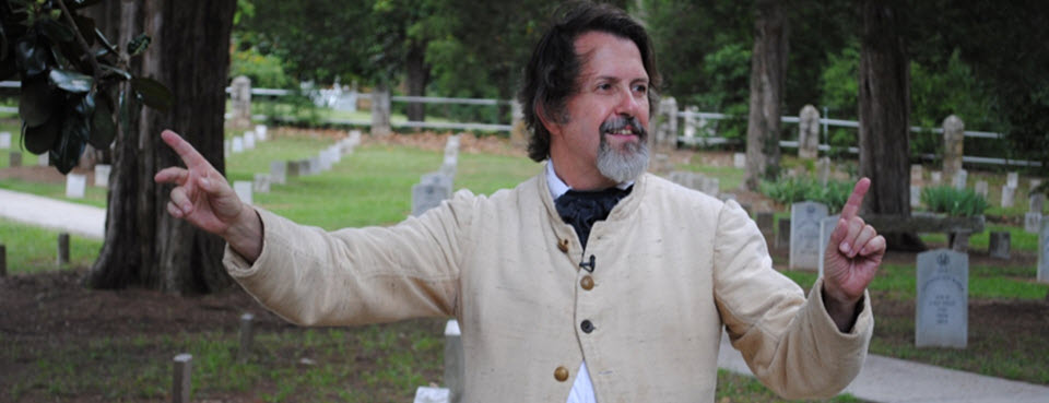 Peter Bonner tells stories, gives tours, and shares his love of history to young and old.
